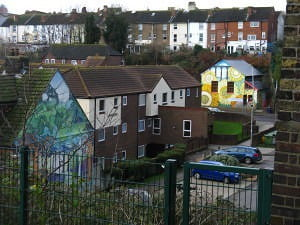 13 Sunflower House and Wooded Valley from viaduct steps Dec. 2014